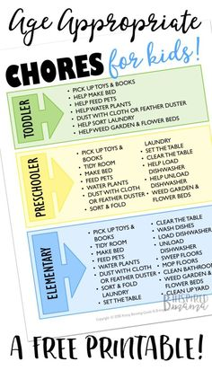 Age Appropriate Chores for Kids - A Free Printable Chore List at B-Inspired Mama + My top tip for easy and FREE rewards for chores!  #ad #AmznUnderground