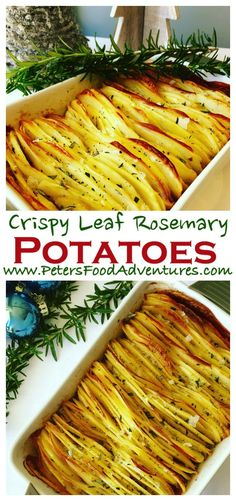 Full of flavour, baked in duck fat and fresh rosemary and salt flakes, a new take on roasted potatoes. Perfect for Christmas, Thanksgiving or a holiday feast - Crispy Leaf Potatoes Roasted in Duck Fat and Fresh Rosemary