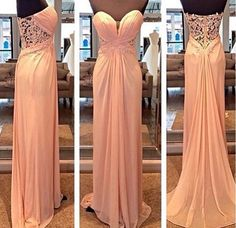 New Arrival Sweetheart Neck Long Prom Dress Chiffon Bridesmaid dress APD1657