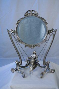Boudoir Mirror In Antique Silver   Classic Art Deco Piece