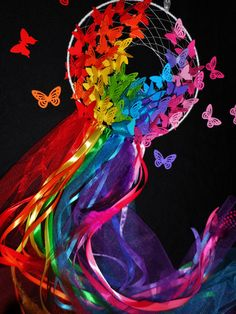 Rainbow butterfly dreamcatcher