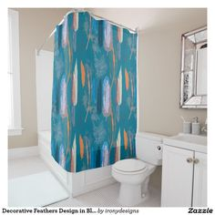 Decorative Feathers Design In Blue Shower Curtain