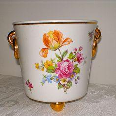 Roses, Flower Vase, Vintage Vase, Flowers, Vintage Planter, Metzler Ortloff , Porcelain, Gold Details. $18.00, via Etsy.