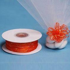 """50 Yards 1/8"""" Coral Orange Organza Pull String Bows Ribbon"""