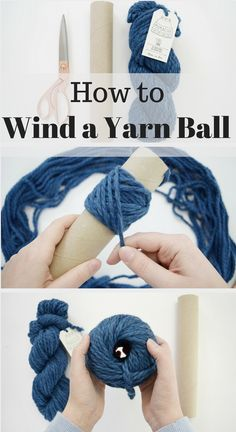 How to wind a yarn ball without a winder! This tutorial will have you winding perfect yarn cakes with just an empty paper towel roll.