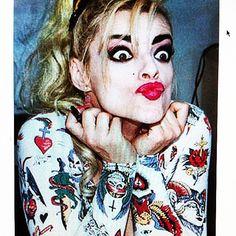 Nina Hagen. Paris sometime late 80s in Pam Hogg tattoo print T-shirt_Pam Hogg IG_JPG ripped it from you