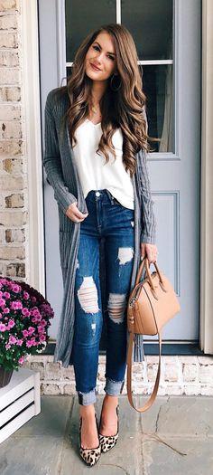 #fall #outfits women's gray long sleeve knitter coat
