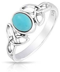 Bling Jewelry Celtic Knot Triquetra Reconstituted Turquoise 925 Silver Ring.