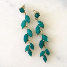 Green Statement Earrings Perfect condition.  Never worn.  Will sell with bundle as well.  Purchased at Bloomingdales. Reasonable offers accepted, but already priced super low. No Trades. Jewelry Earrings