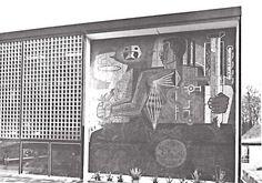 """Mural de José Chávez Morado """"México moderno, un país de antigua cultura""""    Pabellón de México en la Exposición Mundial de Bruselas, Bélgica, 1958    Arqs. Pedro Ramírez Vázquez y Rafael Mijares -Mural by Jose Chavez Morado """"Modern Mexico, a Country of Ancient Culture""""    Mexican Pavilion for the World Fair held in Brussels, Belgium, 1958    Architects: Pedro Ramirez Vazquez and Rafael Mijares.          Mural by Jose Chavez Morado """"Modern Mexico, a Country of"""