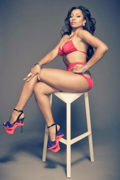 KARLIE REDD OF LOVE AND HIP HOP ATLANTA: PHOTOGRAPHER: WELDON BOND. STYLED BY US: NUVIZIONS INTL (DAVID, DANNY ASSISTED BY SASSI) DESIGNER OF SWIMSUIT JASMINE JONES OF DIONIQUE DESIGNS. HAIR: NITTA JOI. MAKEUP ALEXIS FAGAN. ACCESSORIES: ANGELA FARRIS OF CRAVE ACCESSORIES. SHOES: YARILL WATTS OF CHLOE RICH SHOES