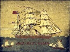 Sailor's Woolwork of H.M.S. Rifleman - Unknown artist Embroidered wool.