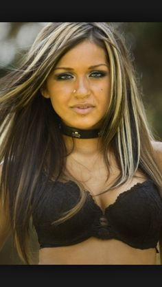 Dark hair blonde highlights