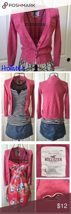 💥BOGO 50% Off💥 Hollister Coral Cardigan Subtle Coral cardigan with two mini pockets. 100% cotton. BOGO 50% off second item of equal or less than value😃 Hollister Sweaters Cardigans