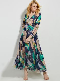 Chiffon Split Printing Women's Maxi Dress