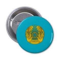 Kazakh coat of arms pinback button