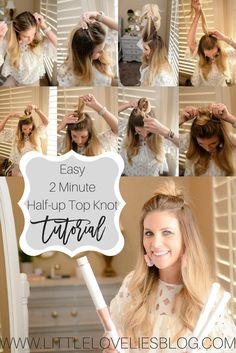 Easy 2 Minute Half-Up Top Knot, easy spring hairstyle! Click through to see step-by-step exactly how to recreate this easy hairstyle! www.littleloveliesblog.com