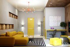 Gelbe Innentüre und Möbel an hellgrauen Wänden