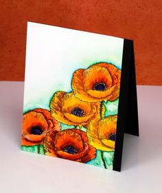 love art poppies- Heather Telford. Supplies: Stamps: Love Art (PB) Mediums:  Zig Clean color real brush markers(Kuretake) Versafine Onyx Black ink (Tsukineko) Cardstock: Hot pressed Fabriano watercolour paper, Neenah Epic Black cardstock. I used zig clean color real brush markers and worked with one orange, one yellow and one red. The colours remained bold and bright because I blended with very little water and just worked with a combination of red and orange or orange and yellow. The…