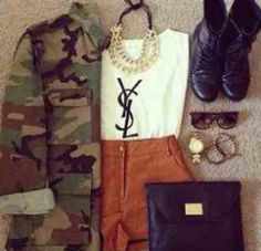 Cute shorts and tee outfit with and khaki jacket