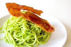 Eat for Eight Bucks: Spaghetti in Creamy Pea Sauce with Crisped Prosciutto Recipe | Serious Eats