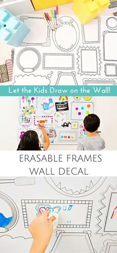 Erasable Wall Frames Decal That Lets Kids Draw on the Wall! This cool decal has whimsical frames that invite kids to doodle on a whim. Simply erase when you're done and draw again! Fun for the kids playroom, kids room, kids interior or birthday parties. | made by Plaeful