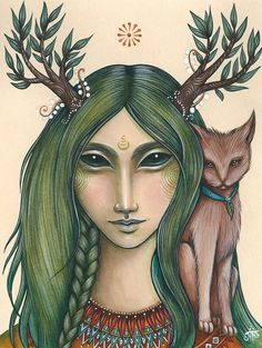 """Elen with a Cat ... """"Wildling"""" - Art by NadiaTurner"""