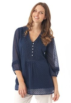 Plus Size Top in georgette with satin Swiss dots | Plus Size shirts & blouses | Woman Within