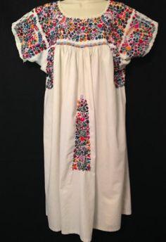 5360c7ba691 RARE MEXICAN DRESS Vintage EMBROIDERED WHITE Kaftan Peasant Hippie Bohemian   765