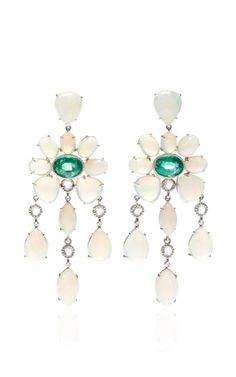 One Of A Kind Emerald And Opal Earrings With Rose-Cut Diamonds by Nina Runsdorf for Preorder on Moda Operandi
