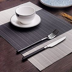 Amazon.com: Place mats,Famibay Heat Insulation PVC Placemats Stain-resistant Crossweave Woven Table Mats for Kitchen Set of 4 (4, Vertical Striped Turquoise): Kitchen & Dining Kitchen Sets, Kitchen Dining, Turquoise Kitchen, Place Mats, Insulation, Blue Stripes, Home Kitchens, Amazon, Table