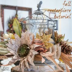 DIY fall centerpiece tutorial at diyshowoff.com