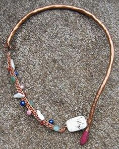 copper, viking chair, fresh water pearls, colored pearls, semi precious stone, hand forged, asymmetrical, hand made