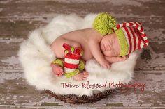 newborn photo prop santa baby hat and leg by graystitchstudio, $50.00