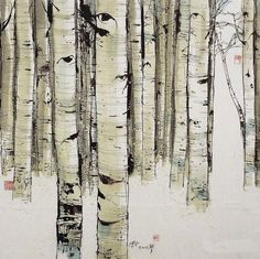 Misc Chinese Painting, Chinese Art, Chinese Brush, Aspen Trees, Ad Art, Art Journal Pages, Painting Techniques, Painting & Drawing, Art Projects
