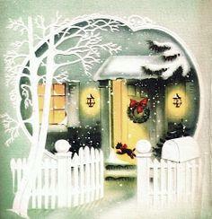 Christmas door - Vintage Xmas card