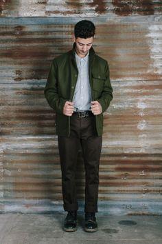 #brixton Holiday product feature: Gus Shirt, Bilston Jacket and Toil Chino Pant.