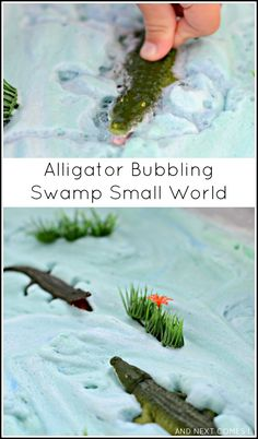 Alligator bubbling swamp small world sensory play for kids is a great way to encourage your child imagination and storytelling abilities. This hands-on activity is perfect for toddlers and preschoolers. Jungle Activities, Animal Activities, Sensory Activities, Sensory Play, Preschool Activities, Sensory Bins, Sensory Table, Kindergarten Sensory, Play Activity