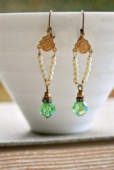 Sophia. art deco,romantic,seed pearl,crystal earrings. tiedupmemories