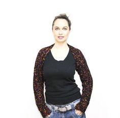 Black Shrug Wool Shrug Hand Knit Shrug Mohair Shrug by Solandia