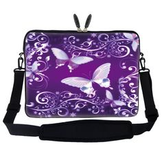 "17 inch Purple Butterfly Design Laptop Sleeve Bag Carrying Case with Hidden Handle & Adjustable Shoulder Strap for 16"" 17"" 17.3"" Apple Macbook, Acer, Asus, Dell, Hp, Sony, Toshiba, and More Meffort Inc,http://www.amazon.com/dp/B005K1H48U/ref=cm_sw_r_pi_dp_4NK7sb1416J86QW6"
