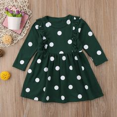 4a0bcc44f56 2-7Y Cute Newborn Infant Baby Girls Cotton Long Sleeve O-Neck Ruched Dot