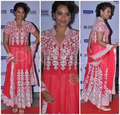 Sonakshi Sinha attended the inaugural ceremony of the Mumbai Fim Festival wearing a pink embroidered Abu Jani Sandeep Khosla anarkali.