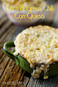 Corn & Green Chili Con Queso Dip - Ingredients 1 c. sweet corn 1 small can diced green chilis drained 8 oz. crumbled queso fresco 1 c. cumin salt and pepper to taste Appetizer Dips, Yummy Appetizers, Appetizer Recipes, Holiday Appetizers, Holiday Parties, Chili Queso Dip, Party Dip Recipes, Party Dips, Fall Recipes