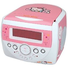 HELLO KITTY AM/FM Stereo Alarm Clock Radio with Top Loading CD Player.  Want this for my office, I cant help it, I love hello kitty stuff!