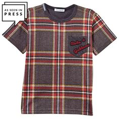 Tartan Jersey Tee with Applique Branding