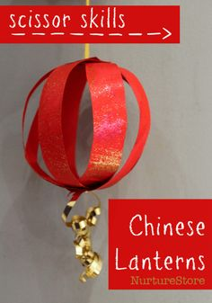 Paper Chinese Lantern Craft - plus great Chinese New Year activities for kids Two pretty ways to make easy Chinese lanterns: they're great Chinese New Year crafts for kids and a fun way to work on scissor skills. Chinese New Year Crafts For Kids, Chinese New Year Activities, Chinese New Year Decorations, Chinese Crafts, New Years Activities, New Years Decorations, Craft Activities, Art For Kids, Camping Activities