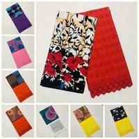 2yard Lace + 3 Yards Ankara African Print  Cotton Fabric Ankara With Dry Lace.
