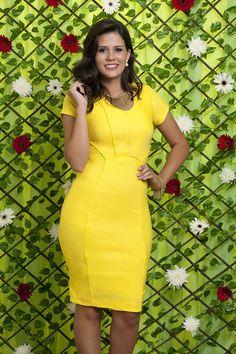 Vestido Cuba - Bella Herança - Vestido amarelo com manga                                                                                                                                                      Mais
