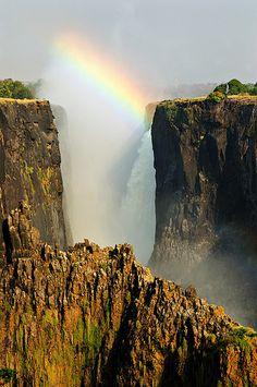 Rainbow over the falls - Zambia